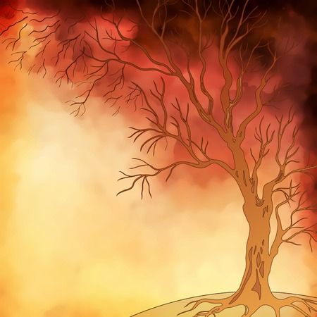 Vector watercolor landscape with autumn tree digital painting Vector