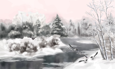 Vector artistic painting, winter watercolor landscape with birds, snow, river, frozen trees