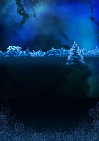 Vector watercolor winter banner. Dark blue night landscape with snow-covered forest, fir tree Vector