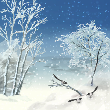 Vector artistic painting, winter watercolor landscape with birds, snow, frozen trees