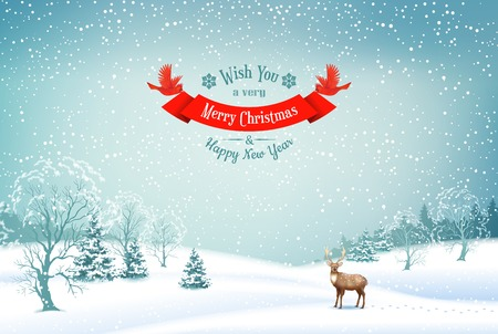 scene: Winter Christmas Landscape Vector Background with snow covered hills, deer, ribbon banner