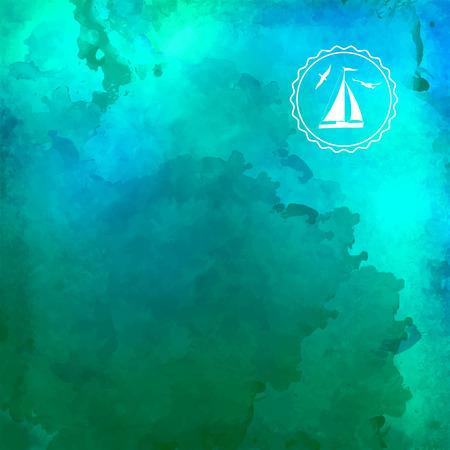 Azul de vectores de fondo y el agua de fondo de acuarela verde