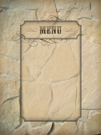 taverns: Vintage vector menu frame on a rough stone wall background