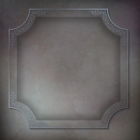 grey background texture: Vintage patterned frame,  subtle grunge dark grey background texture Illustration