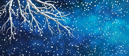 night view: Vector Christmas panoramic banner. View of night dark blue sky, snowfall. bare tree branches