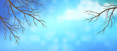 bare trees: Vector panoramic banner. Blue sky with white cloud and bare tree branches