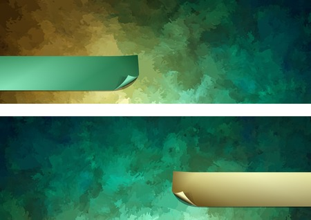 Abstract dark green vector digital watercolor painting background paper banner with curled corner
