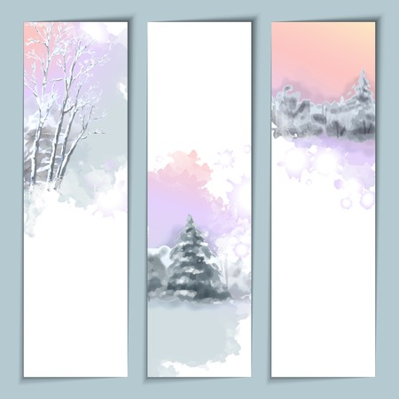 landscape scene: Vector Watercolor Winter Landscape Banners with snow-covered forest, fir tree Illustration