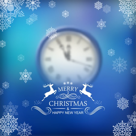 Vector Christmas Clock over Blurred Background with snowflakes Vector