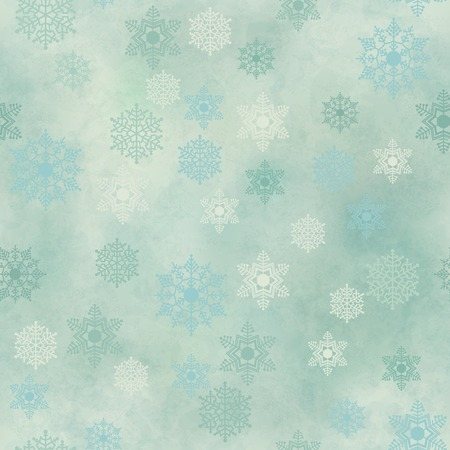 Wrapping Christmas vintage paper background with snowflake seamless pattern, subtle grunge texture. Vector holiday winter retro wallpaper backdrop