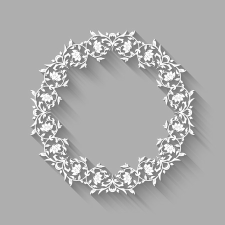 Vector vintage circle white border frame with long shadows. Blank circle paper frame with Baroque pattern and retro decorations