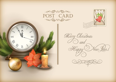 postal card: Merry Christmas and Happy New Year vector celebration vintage postcard with with retro clock candle, poinsettias, Christmas tree branches, Xmas ornaments, text Illustration