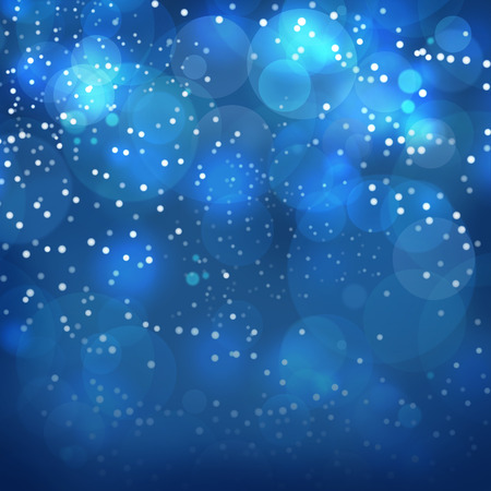 blurred lights: Christmas abstract bokeh background with blurred lights in dark blue colors