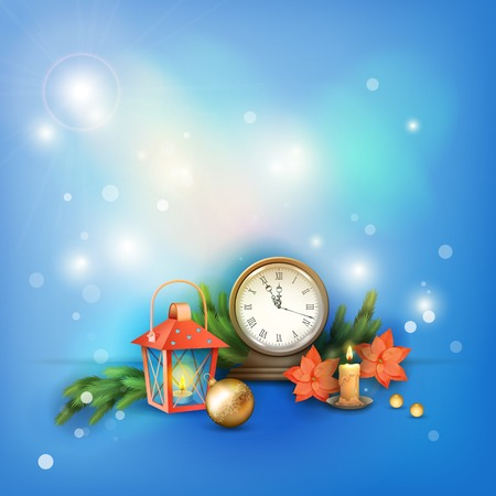 Vector Christmas and New Year Celebration Background with vintage clock candle, poinsettias, Christmas tree branches, Xmas ornaments, lantern Vector