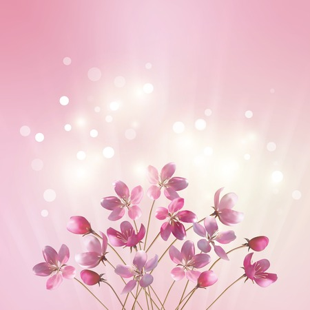 Shining pink flowers background.   Çizim