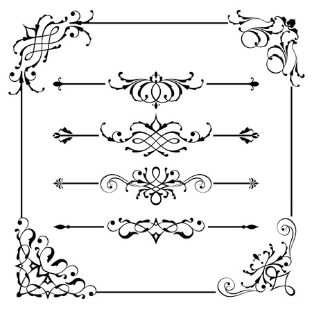 Set of vintage vector frame border divider corner. Retro elements collection. Ornate page decor elements for calligraphy design Çizim