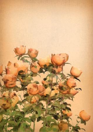 Hand Drawn Vector Watercolor Roses Bush. Flower impressionistic drawing. Original floral artwork Vector