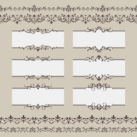 Set of vintage frame border divider. Retro design elements collection Vector