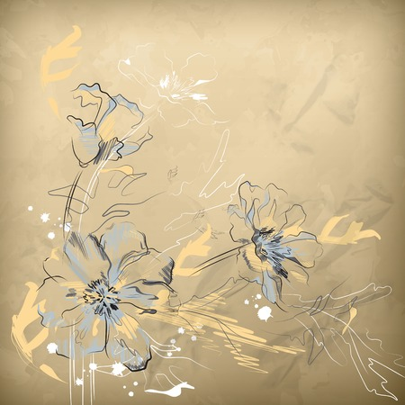 Vector pencil hand drawing flowers on wrapping crumpled brown paper