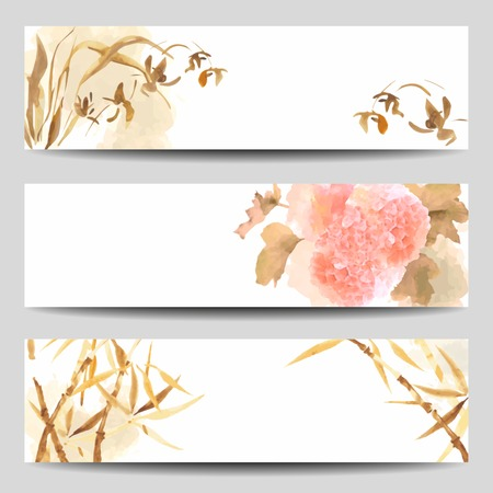 Watercolor vector banners in Oriental style. Wild Orchid, Hydrangea flowers, stalk of bamboo painted in the traditional Japanese style Vectores