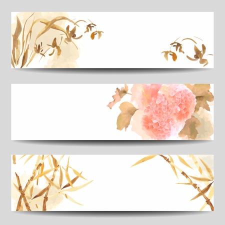 orchidee: Banner acquerello vettore in stile orientale. Orchidea selvaggia, Fiori di ortensia, stelo di bamb� dipinta in stile tradizionale giapponese