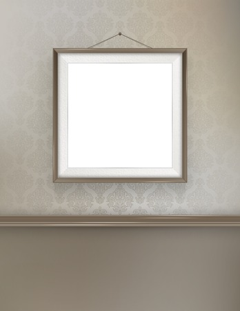 wallpaper wall: Border vector picture black frame, on the vintage wallpaper wall Illustration