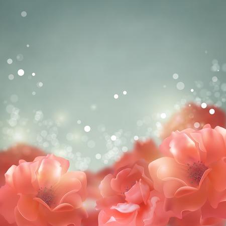 red rose bokeh: Shining flowers roses background.  Romantic vector floral summer season beautiful card
