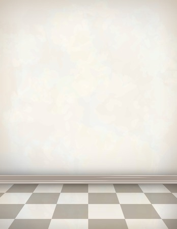interior cell: Empty room with white wall, tile floor. Classical vector interior Illustration
