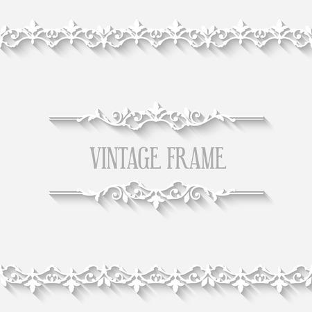 vintage frame vector: Frame vector vintage white border with long shadows