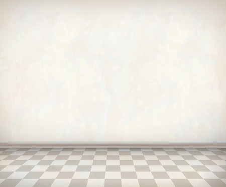 tile: Empty room with white wall, tile floor. Classical vector interior Illustration