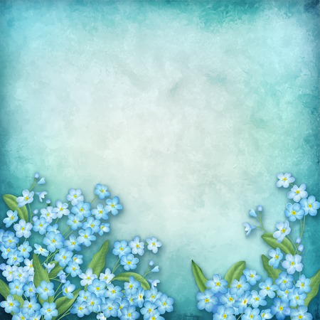 spring flowers: Vector floral composition on blue watercolor background