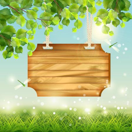 草、花、木の枝、蝶とのベクトルの夏の風景  イラスト・ベクター素材
