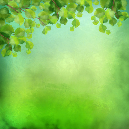 Decorative grunge watercolor background with green leaves on expressive painting texture Stockfoto