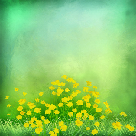 yellow flower: Decorative grunge watercolor green background with yellow flowers on expressive painting texture
