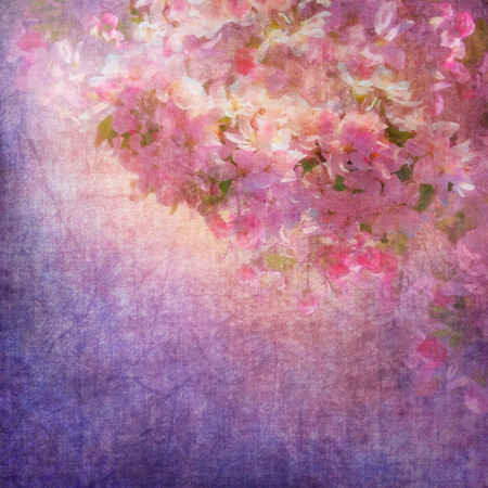 expressive style: Vintage grunge background with spring cherry blossom. Painting style floral art on expressive shabby fabric texture Stock Photo