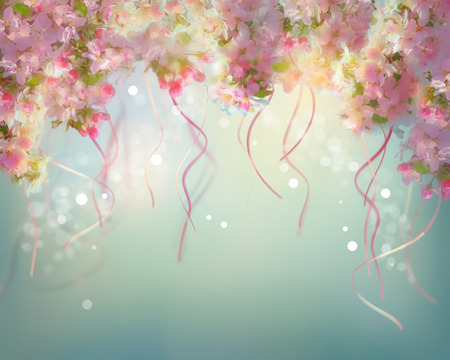 Spring cherry blossom wedding background with floating ribbons