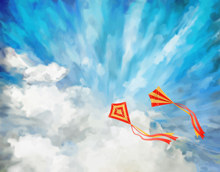 Blue sky vector artistic background with white fluffy clouds, flying kites