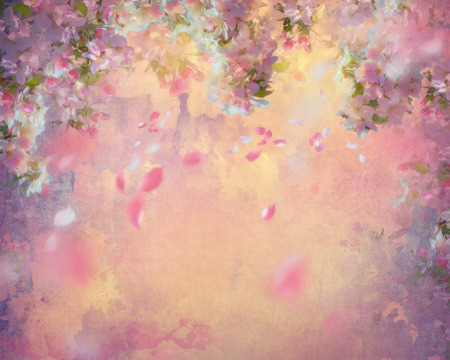 Spring cherry blossom with flying petals on canvas vintage background. Painting style floral art on expressive shabby fabric texture
