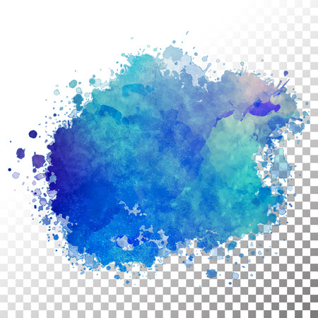 Vector watercolor painted blue blot. Hand drawing abstract splash with transparent edges Vectores