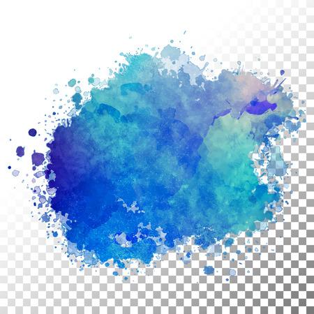 Vector acuarela pintada de azul blot. Gr�fico de la mano del chapoteo abstracto con bordes transparentes Vectores