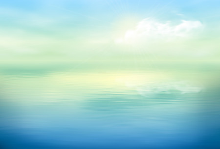 horizon reflection: Water vector background calm and clear. Sea landscape