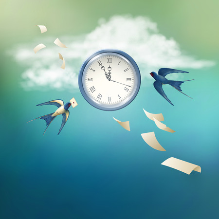 paper sheets: Concept of time vector abstract metaphor background. Free flying bird swallow in the sky, white clouds, antique clock, flying paper sheets