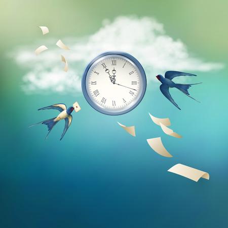 Concepto de tiempo vectorial met�fora de fondo abstracto. Libre golondrina p�jaro que vuela en el cielo, las nubes blancas, reloj antiguo, hojas de papel volando Vectores