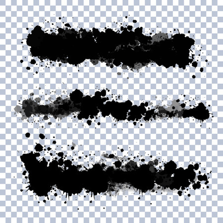 Set of vector ink blots with transparent edges
