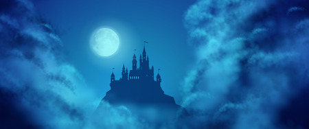 panoramic view: Fantasy vector castle silhouette on the hill against moonlight sky with soft clouds texture. Fantasy night panoramic view