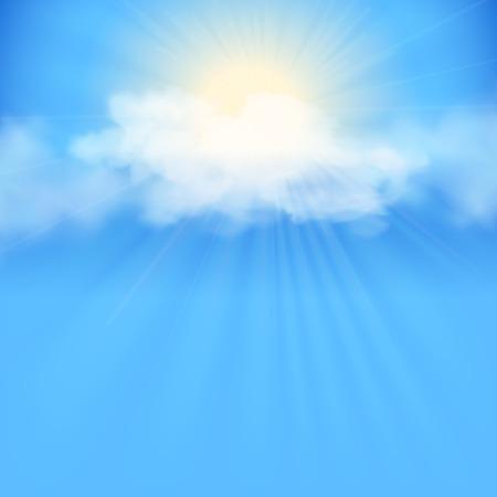 Rayos de sol entre las nubes. Cielo de vectores de fondo abstracto con nubes blancas y el sol