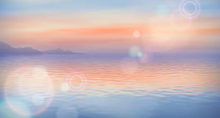 海のベクトルの背景は、落ち着かせ、クリアします。海のパノラマ風景
