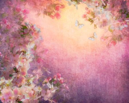 キャンバス ヴィンテージ背景に桜の花のイラスト。絵画表現のぼろぼろの布テクスチャのスタイル フローラル ・ アート 写真素材