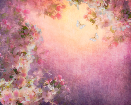 fabric art: Cherry blossoms illustration on canvas vintage background. Painting style floral art on expressive shabby fabric texture