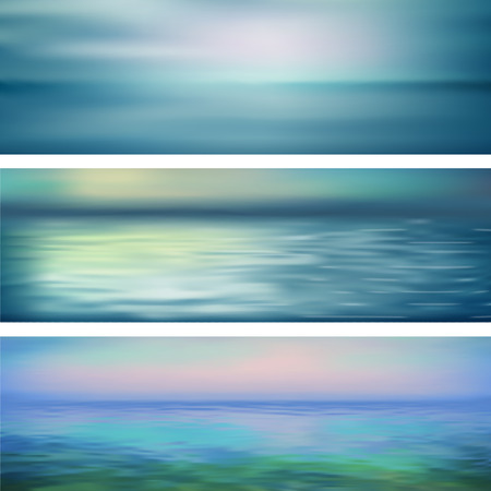 panoramic landscape: Blurry vector abstract water ripple banners. Marine panoramic landscape